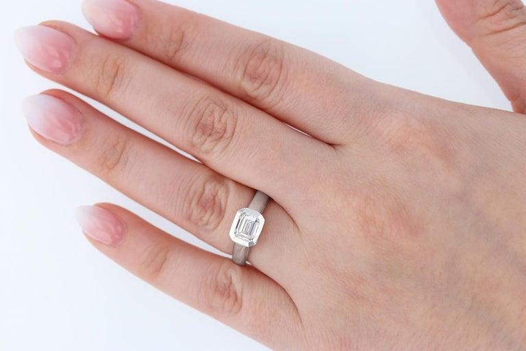 Women's Emerald Cut 1.01 Carat Diamond 14 Karat Gold Signet Ring For Sale