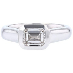 Emerald Cut 1.01 Carat Diamond 14 Karat Gold Signet Ring