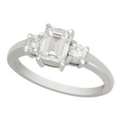Emerald Cut 1.34 Carat Diamond and 18 Karat White Gold Engagement Ring