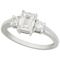 Emerald Cut 1.34 Carat Diamond and White Gold Engagement Ring