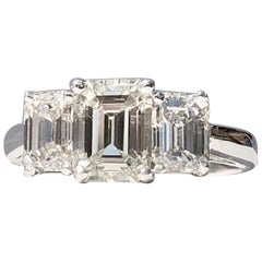 Emerald Cut 3 Stone Trilogy White Diamond Engagement  18k 2.80cts TW Ring