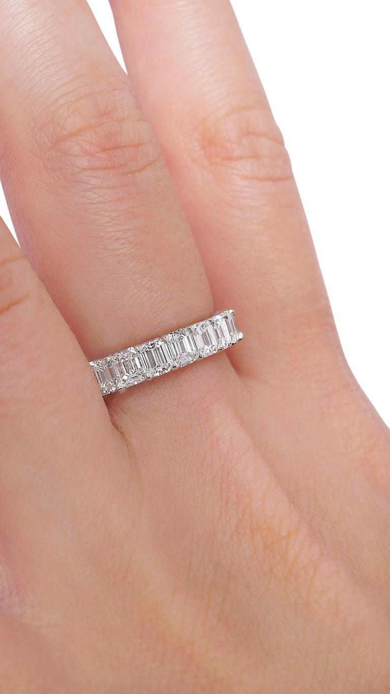 Contemporary Emerald Cut 3.80 Carat Diamond Wedding Eternity Band Set in Platinum For Sale