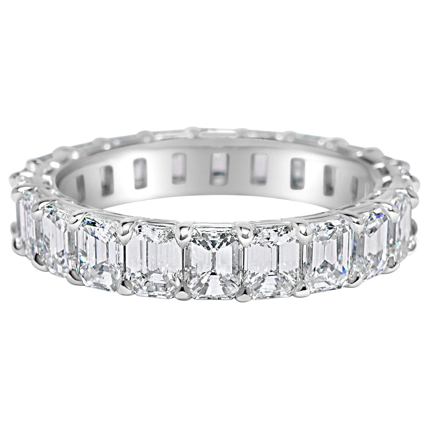 Emerald Cut 3.80 Carat Diamond Wedding Eternity Band Set in Platinum