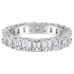 Emerald Cut 3.80 Carat Diamond Wedding Eternity Band Set in Platinum
