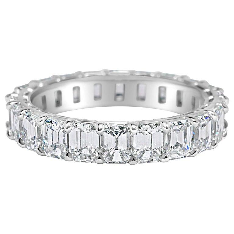 Emerald Cut 3.80 Carat Diamond Wedding Eternity Band Set in Platinum For Sale