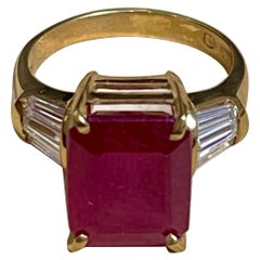 Emerald Cut 5 Carat Treated Ruby and 1 Carat Diamond 14 Karat Yellow Gold Ring