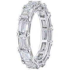 Emerald Cut 5.30 Carat Diamond Wedding Eternity Band Set in Platinum
