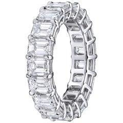 Emerald Cut 5.85 Carat Diamond Wedding Eternity Band Set in Platinum