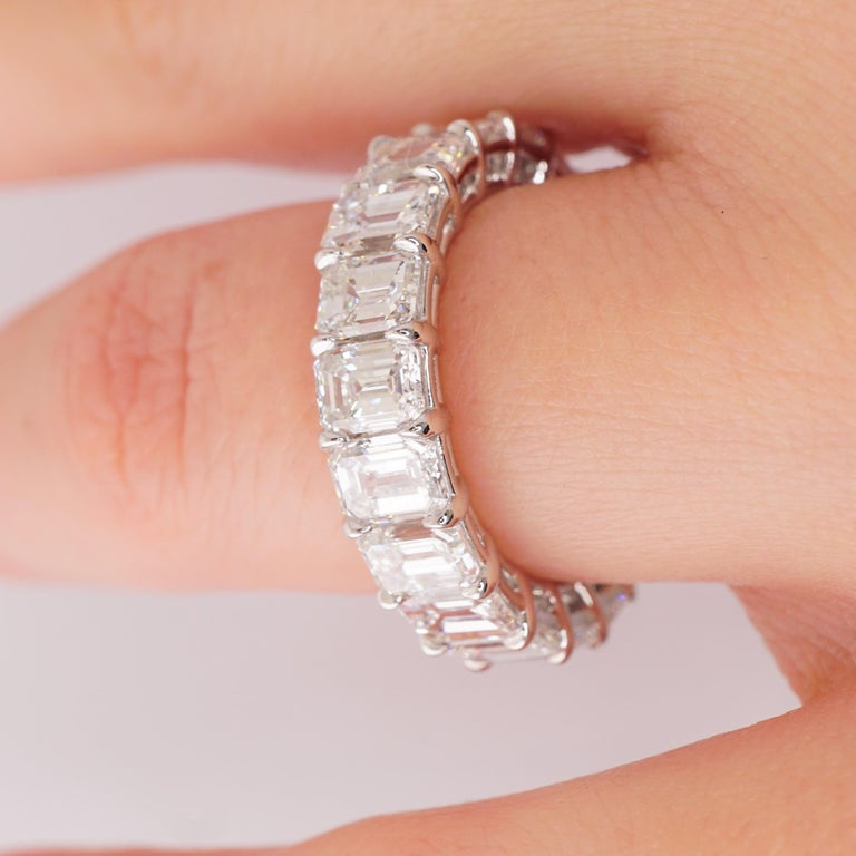 GIA Certified Emerald Cut  6.22 Carat Diamond Wedding Eternity Band  In New Condition For Sale In New York, NY