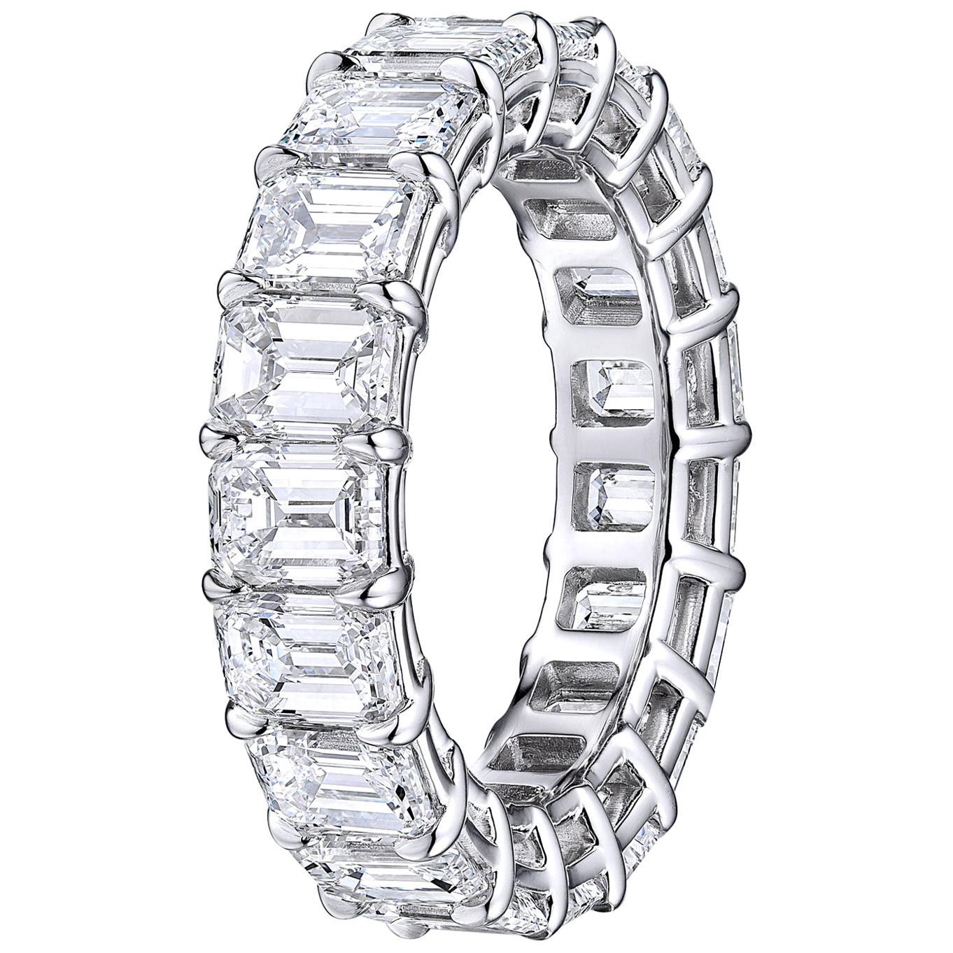 GIA Certified Emerald Cut  6.22 Carat Diamond Wedding Eternity Band