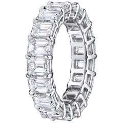 GIA Certified Emerald Cut  6.22 Carat Diamond Wedding Eternity Band