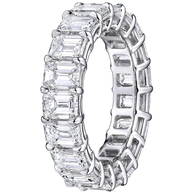 GIA Certified Emerald Cut  6.22 Carat Diamond Wedding Eternity Band  For Sale