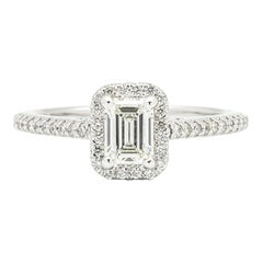 Emerald Cut .78 Carat G VVS2 Halo Engagement Ring in White Gold