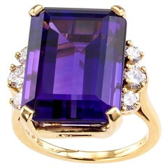 Emerald Cut Amethyst Diamond Gold Cocktail Ring