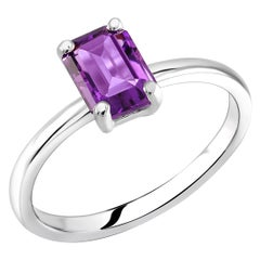 Emerald Cut Amethyst Solitaire Sterling Silver Ring