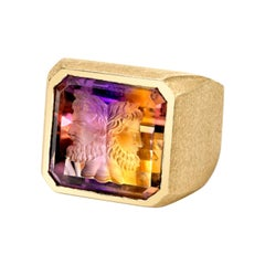 "Emerald Cut Ametrine Hand Carved ""Janus"" Head 14 Karat Yellow Gold"