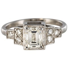 Emerald Cut And Brilliant Cut Diamond Gold Ring