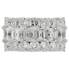 Emerald Cut and Round Brilliant Diamond Three-Row Wide Ring