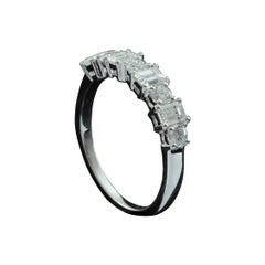 Emerald Cut and Round Diamond Fashion Ring in 18 Karat Gold