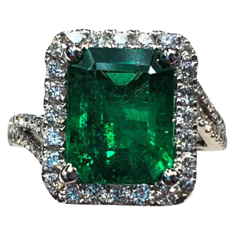 Emerald Cut and White Diamond Ring For Sale