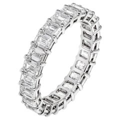 Emerald Cut Anniversary Band in Platinum 3.43 Carat