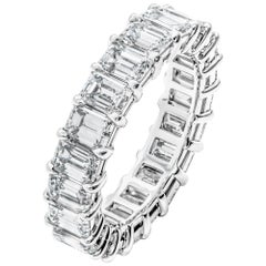 Emerald Cut Anniversary Band in Platinum 6.36 Carat