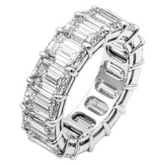 Emerald Cut Anniversary Band in Platinum 9.14 Carat