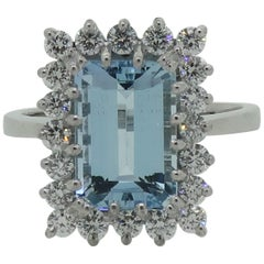 Emerald Cut Aquamarine and Diamond Claw Set Cluster Ring 18 Karat White Gold