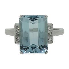 Emerald Cut Aquamarine and Diamond Cocktail Ring