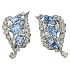 Emerald Cut Aquamarine and Diamond Platinum Swirl Earclips