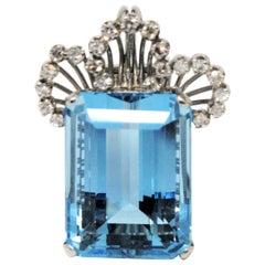 Emerald Cut Aquamarine and Pave Diamond Platinum Brooch or Pendant 27.99 Carat