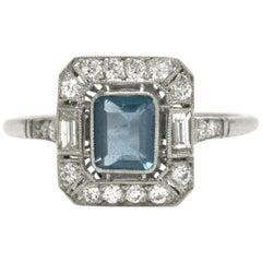 Emerald Cut Aquamarine Engagement Ring Art Deco Style Diamond Halo Platinum