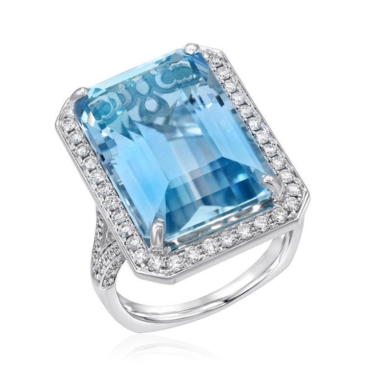 Modern Aquamarine Ring 15 Carat Emerald Cut  For Sale