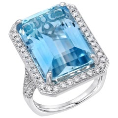 Emerald Cut Aquamarine Ring 15 Carats