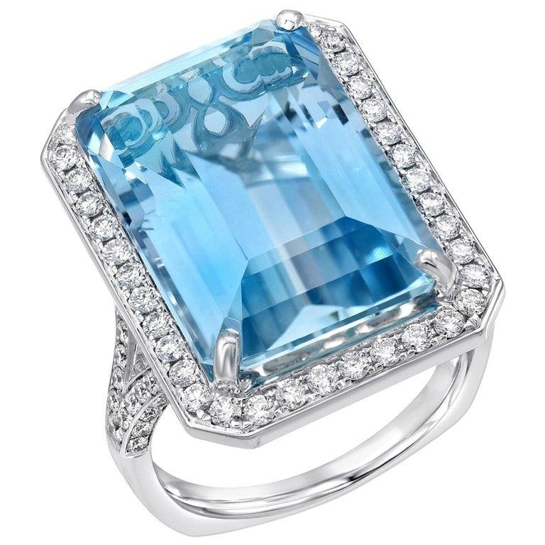 Aquamarine Ring 15 Carat Emerald Cut  For Sale