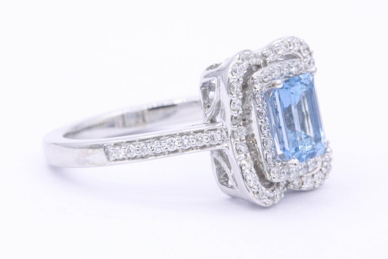 Emerald Cut Aquamarine with Diamonds Halo Cocktail Ring In New Condition For Sale In New York, NY