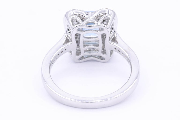 Women's Emerald Cut Aquamarine with Diamonds Halo Cocktail Ring For Sale