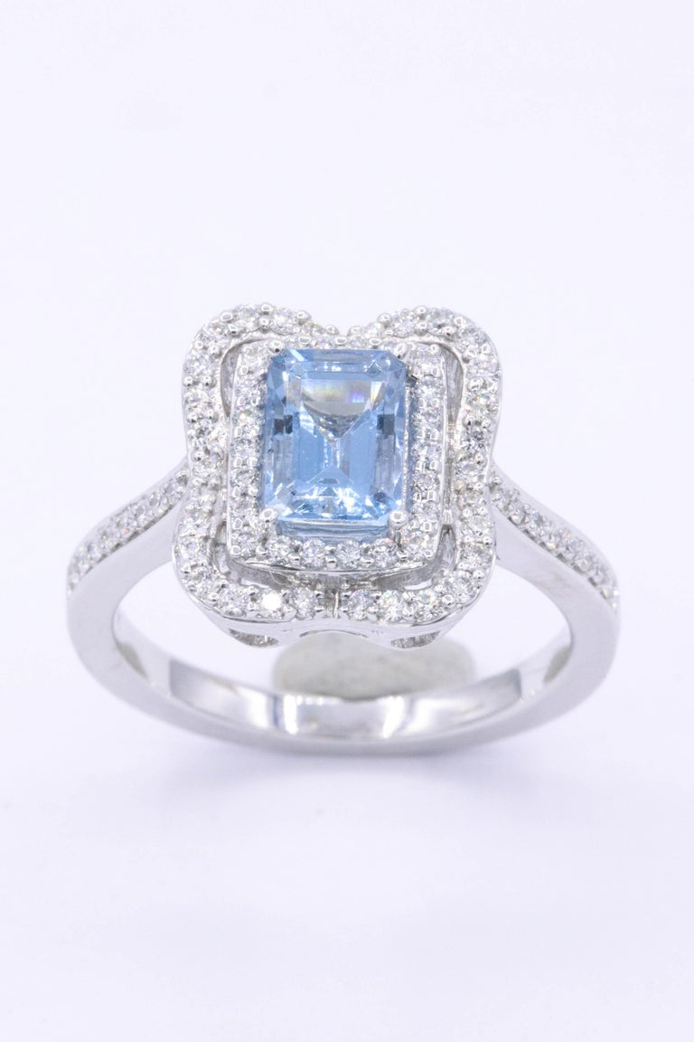 Emerald Cut Aquamarine with Diamonds Halo Cocktail Ring For Sale 1
