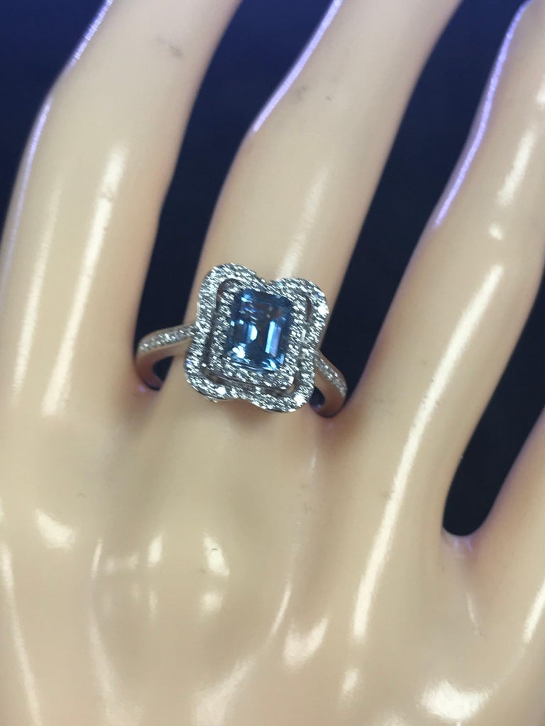 Emerald Cut Aquamarine with Diamonds Halo Cocktail Ring For Sale 2