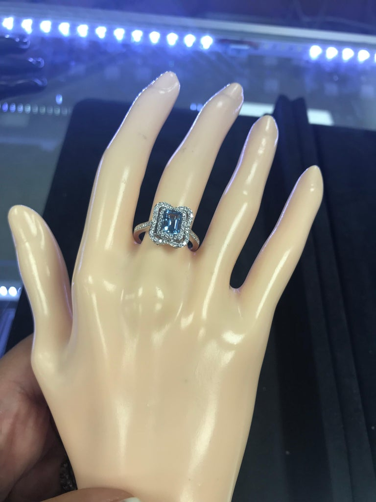 Emerald Cut Aquamarine with Diamonds Halo Cocktail Ring For Sale 3