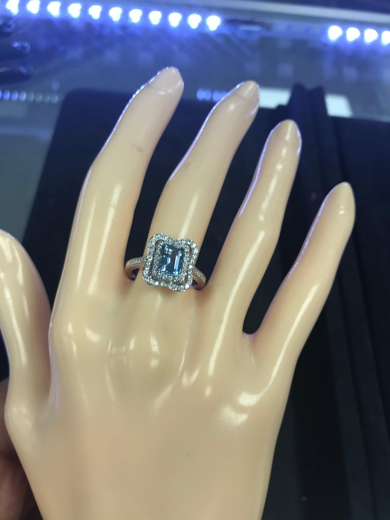 Emerald Cut Aquamarine with Diamonds Halo Cocktail Ring For Sale 4