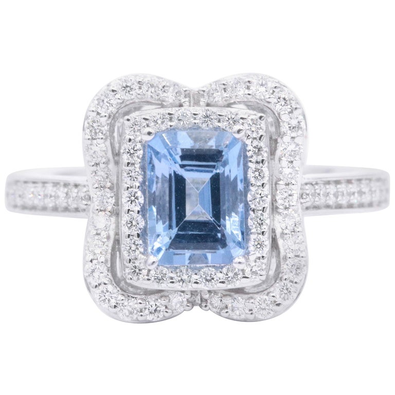Emerald Cut Aquamarine with Diamonds Halo Cocktail Ring For Sale