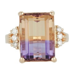Emerald Cut Bicolor Ametrine Amethyst Citrine Ring White Diamond 14K Yellow Gold