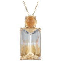 Emerald Cut Bicolor Citrine Cabochon Diamond Pendant 14 Karat Gold Double Drop