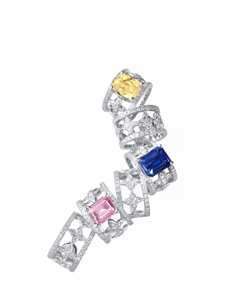 Emerald Cut Blue Sapphire and Diamond Ring in Platinum For Sale 6