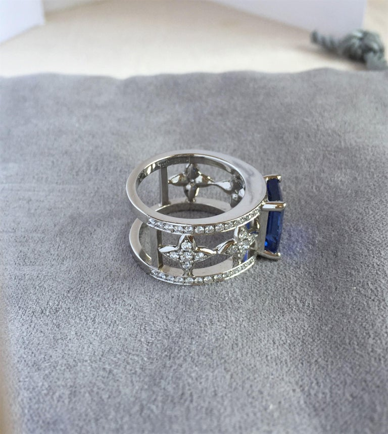 Emerald Cut Blue Sapphire and Diamond Ring in Platinum For Sale 8