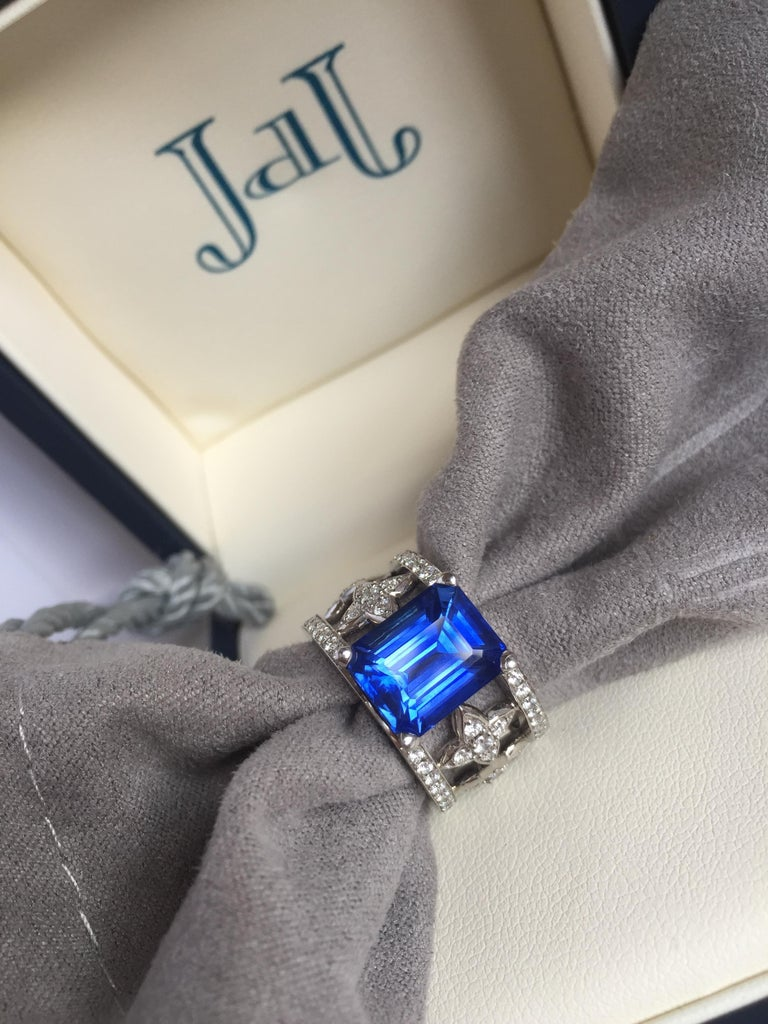 Emerald Cut Blue Sapphire and Diamond Ring in Platinum For Sale 9