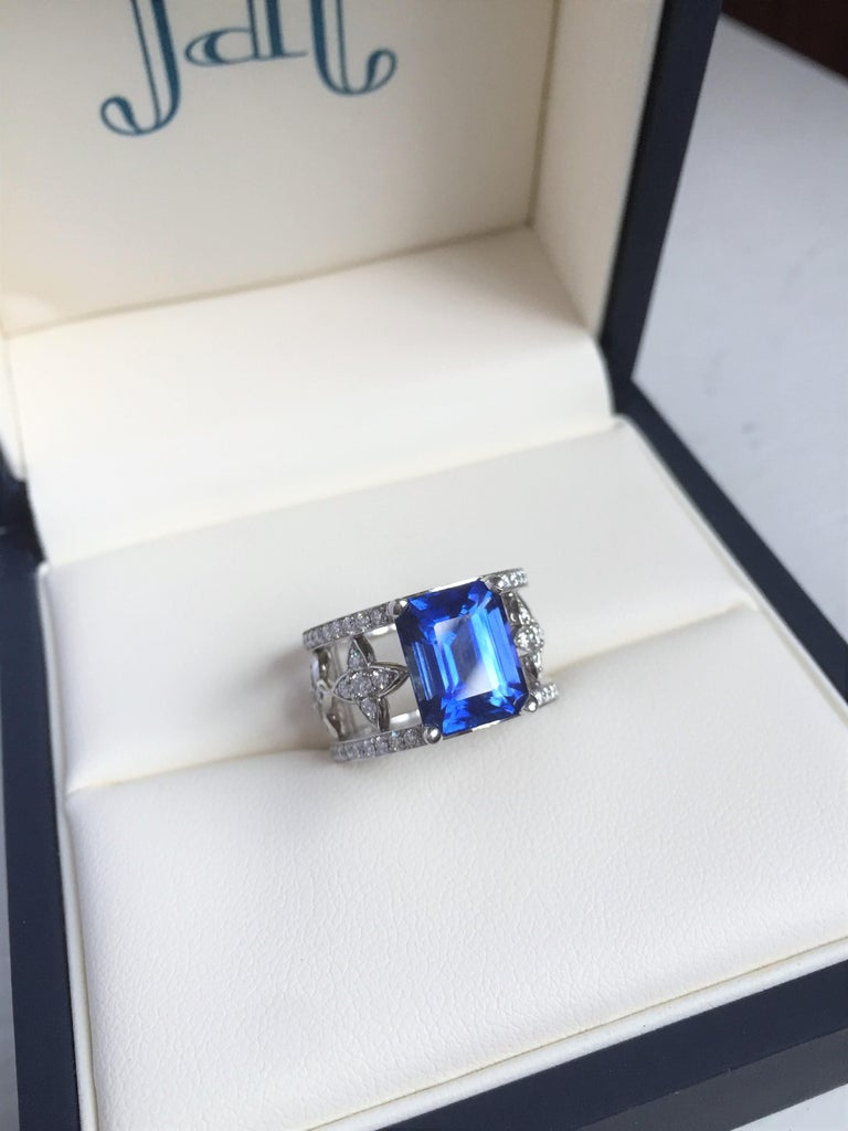 Women's Emerald Cut Blue Sapphire and Diamond Ring in Platinum For Sale
