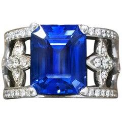 Emerald Cut Blue Sapphire and Diamond Ring in Platinum