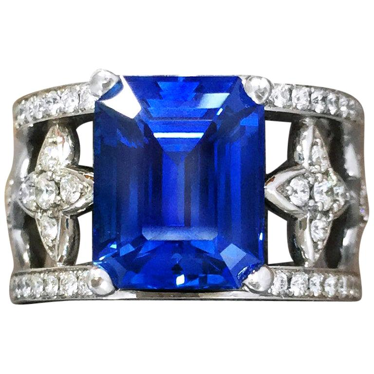 Emerald Cut Blue Sapphire and Diamond Ring in Platinum For Sale